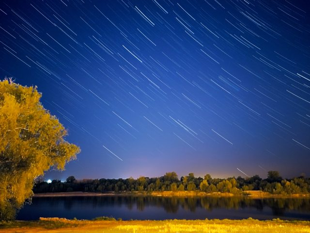 Star trails nad Wisłą